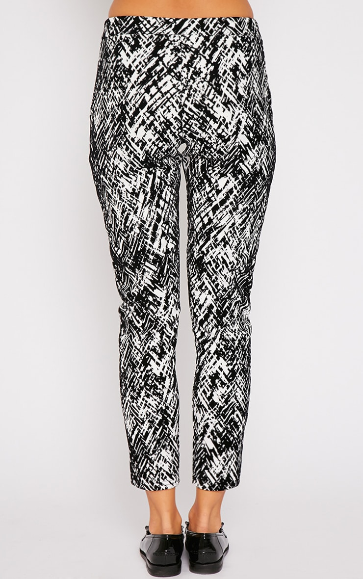 Ally Monochrome Abstract Print Flocked Cigarette Trouser 2