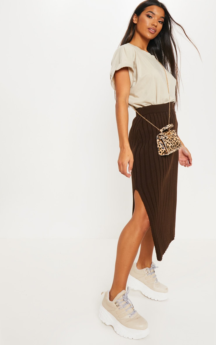Brown Ribbed Knitted Midi Skirt 1