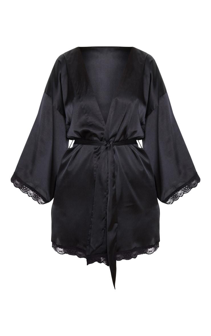 Black Lace Trim Satin Robe 3