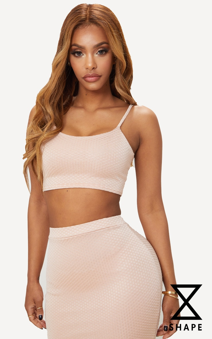 Shape Champagne Textured Strappy Crop Top