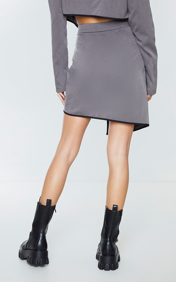 Charcoal Grey Woven Contrast Binding Wrap Over Mini Skirt 3