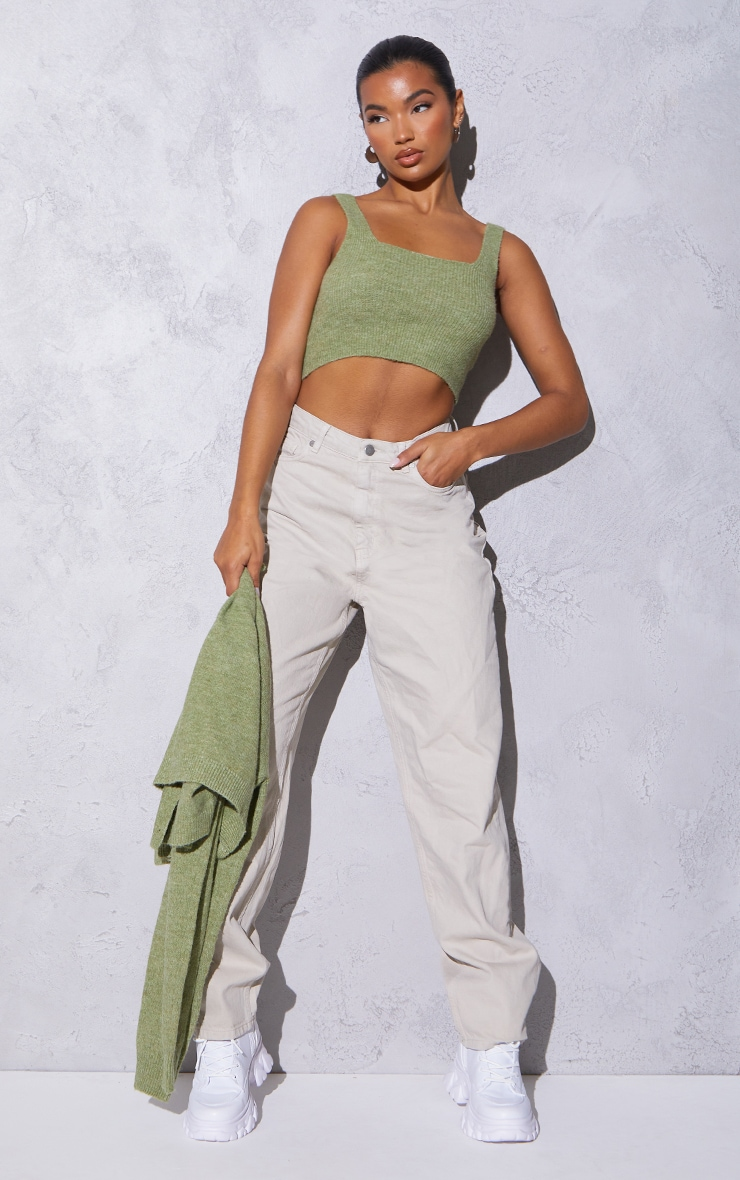 RENEW Olive Knitted Cropped Top 3