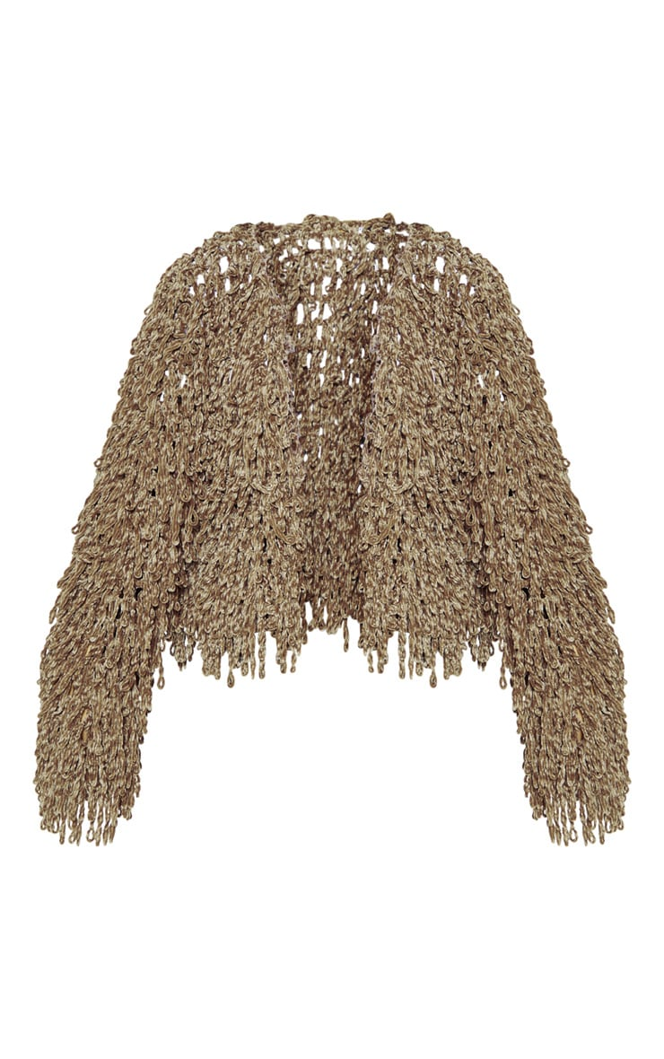 Taupe Chenille Shaggy Knitted Cardigan 3