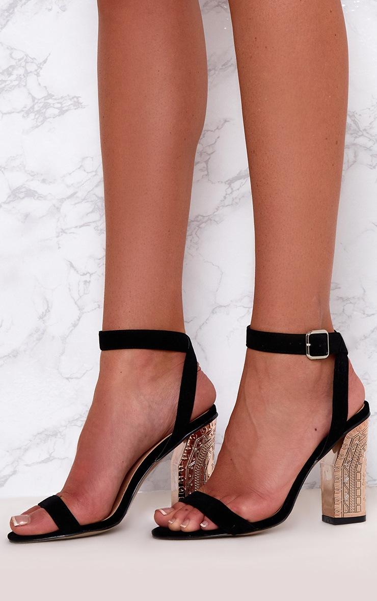 Black Faux Suede Ornate Heels 2
