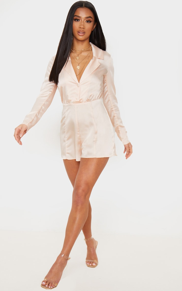 Petite Champagne Button Front Long Sleeve Satin Playsuit 5