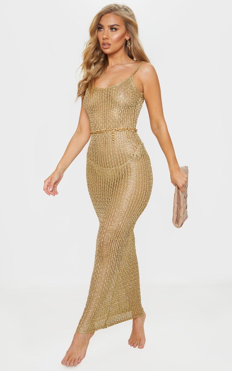 Gold Metallic Knitted Maxi Dress 3