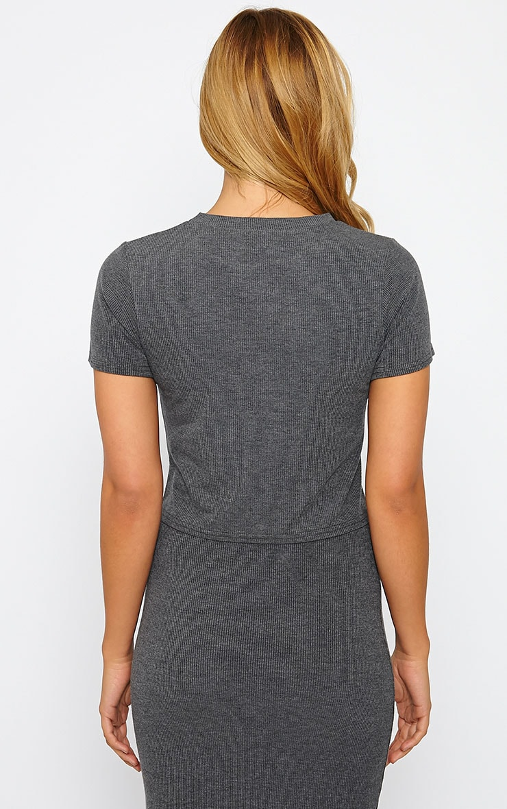 Basic Charcoal Short Sleeve Crop Top 2