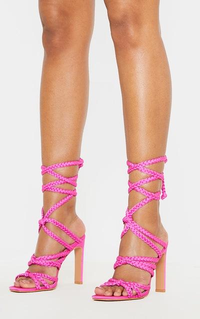 Fuchsia Plaited Square Toe Lace Up Sandal