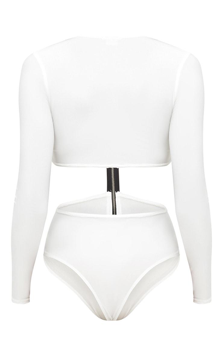 Cream Zip Front Cut Out Slinky Bodysuit 4