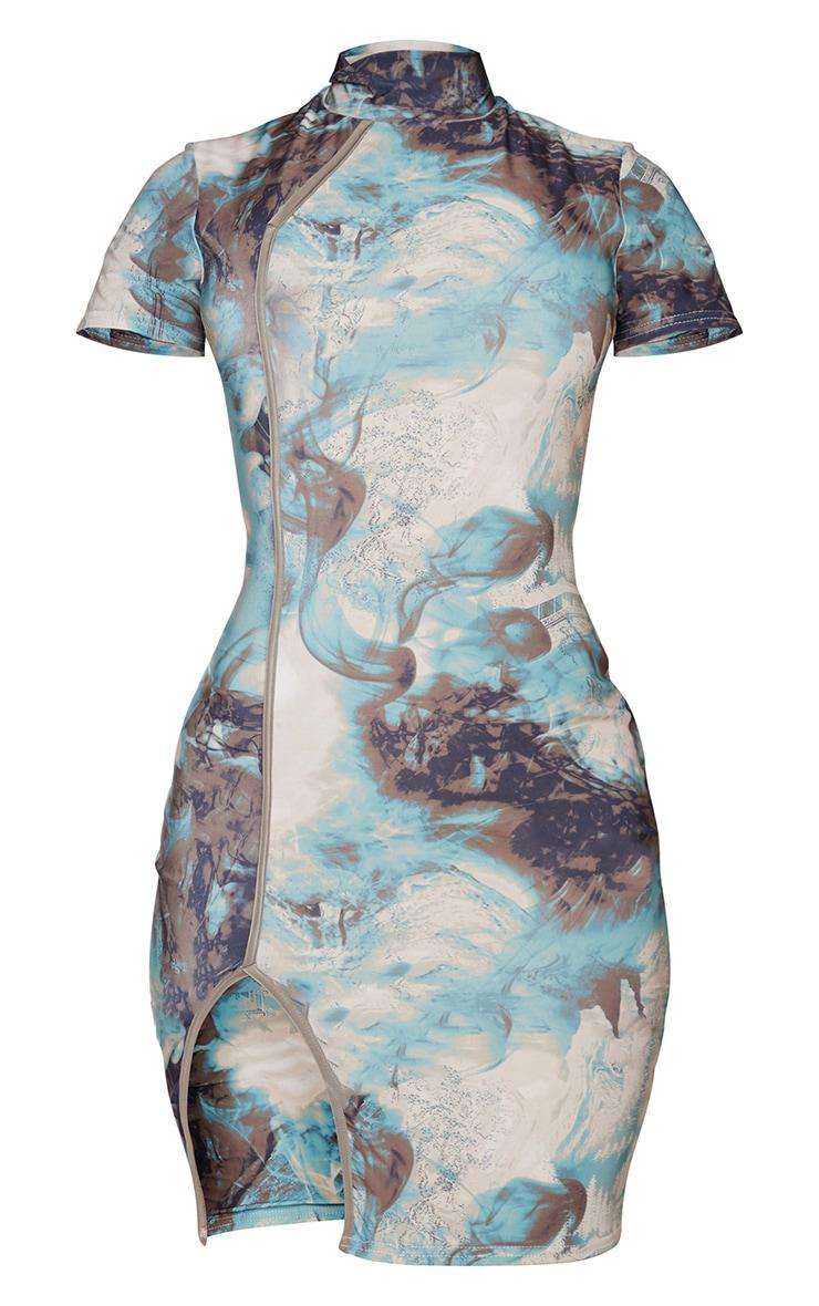Shape Teal Marble Print Slinky High Neck Binding Detail Bodycon Dress 5