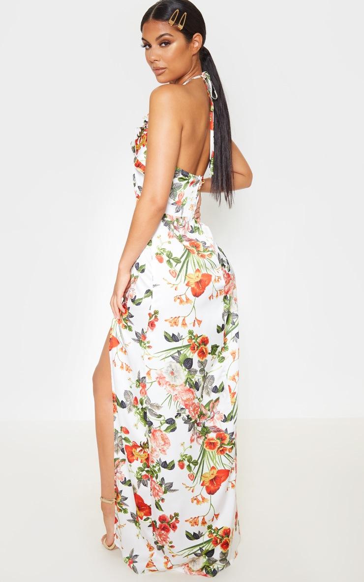 White Floral Print Ruffle Halterneck Maxi Dress 2