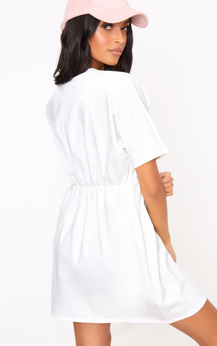White Waist Detail Sweater Dress 2