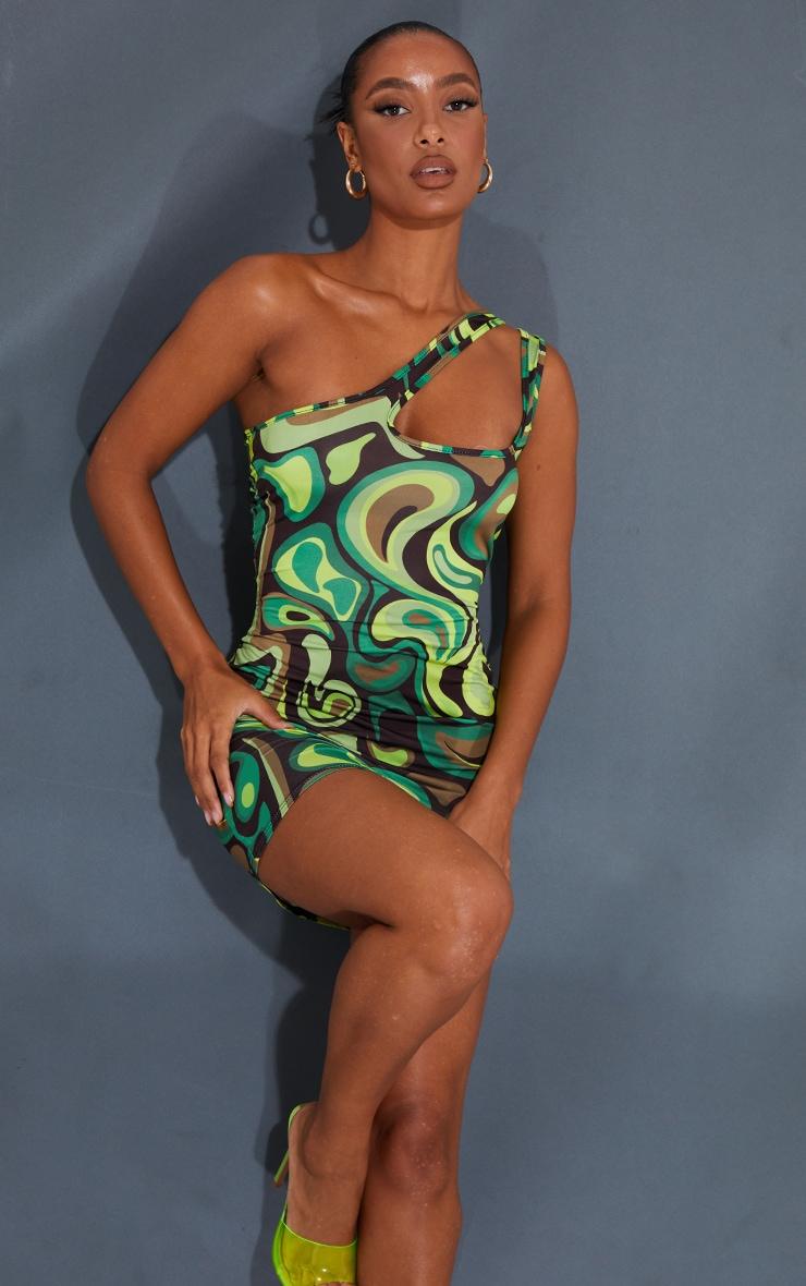 Green Swirl Print Slinky One Shoulder Cut Out Detail Bodycon Dress 1
