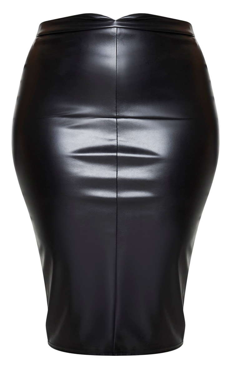 Plus Eva Black Faux Leather Panel Midi Skirt 5