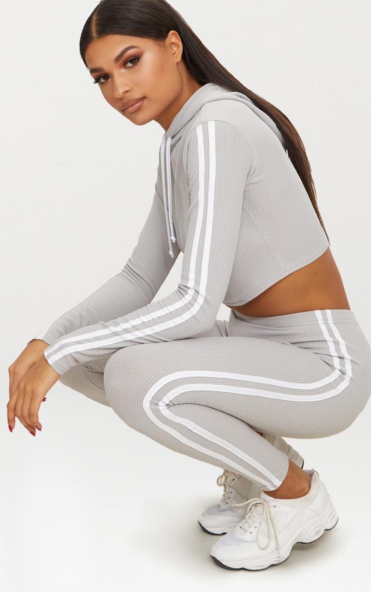 Grey Rib Sport Stripe Legging 1