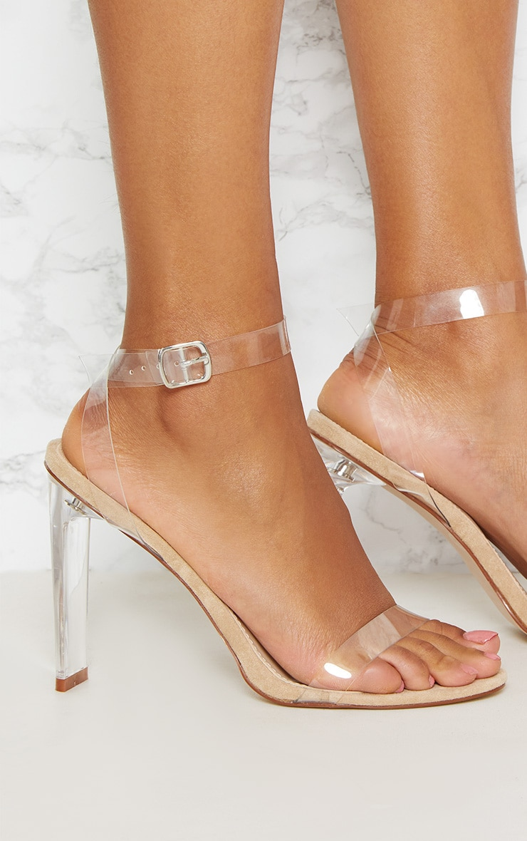 Beige Clear Flat Heel Strappy Sandal 4