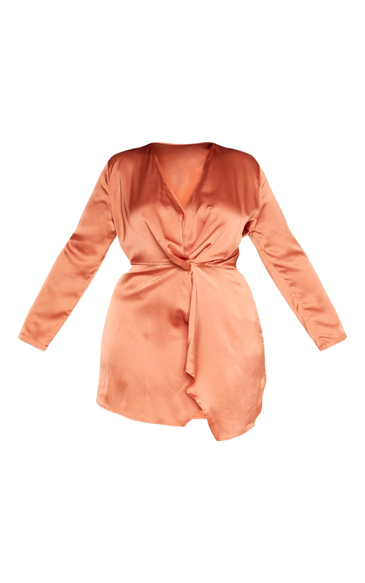 Plus Rust Satin Long Sleeve Wrap Dress 3