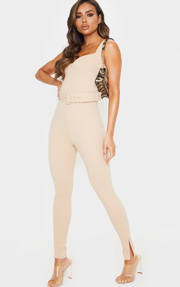Stone Belt Detail Sweetheart Neckline Jumpsuit 4