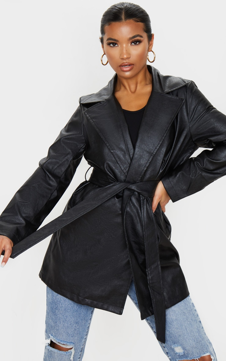 Black Faux Leather Tie Waist Shacket 1