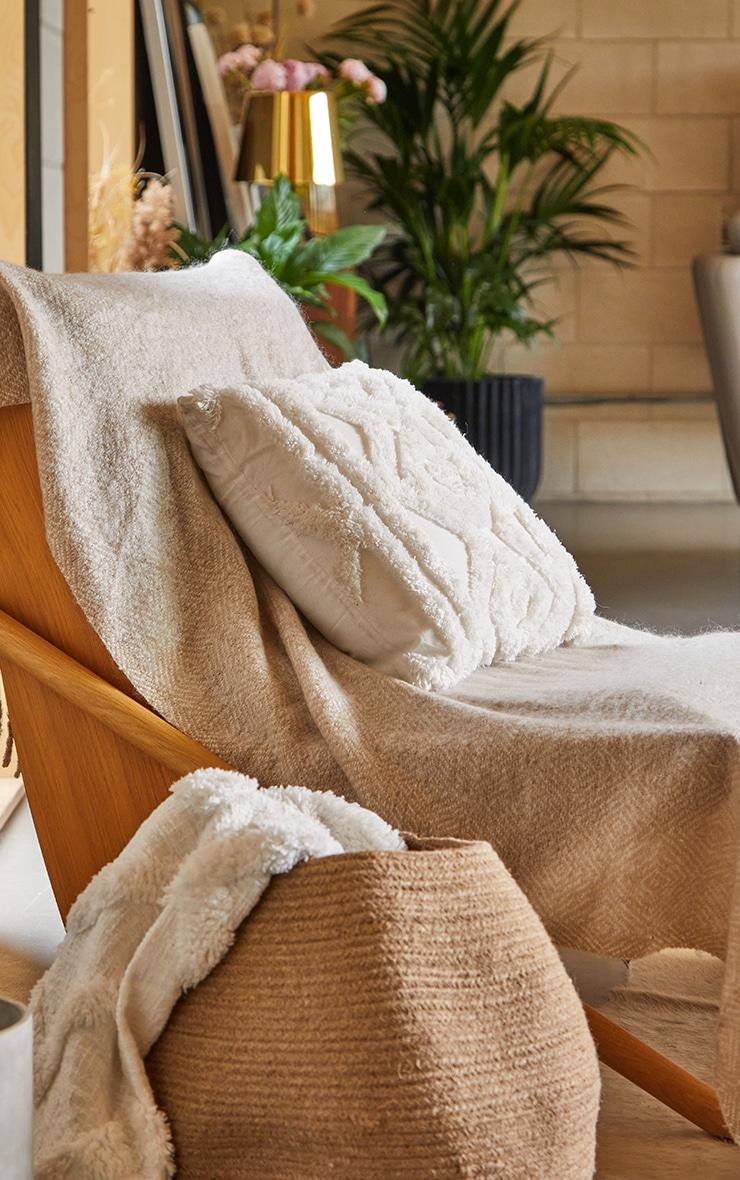 Cream Diamond Tufted Cushion image 1