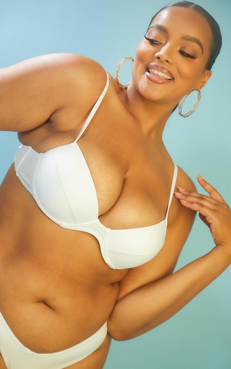 Recycled Plus White Mix & Match V Front Bikini Bottoms 4
