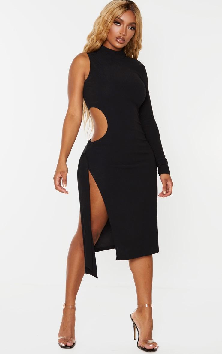 Shape - Robe mi-longue noire découpée à manche unique et lien sur le côté 1