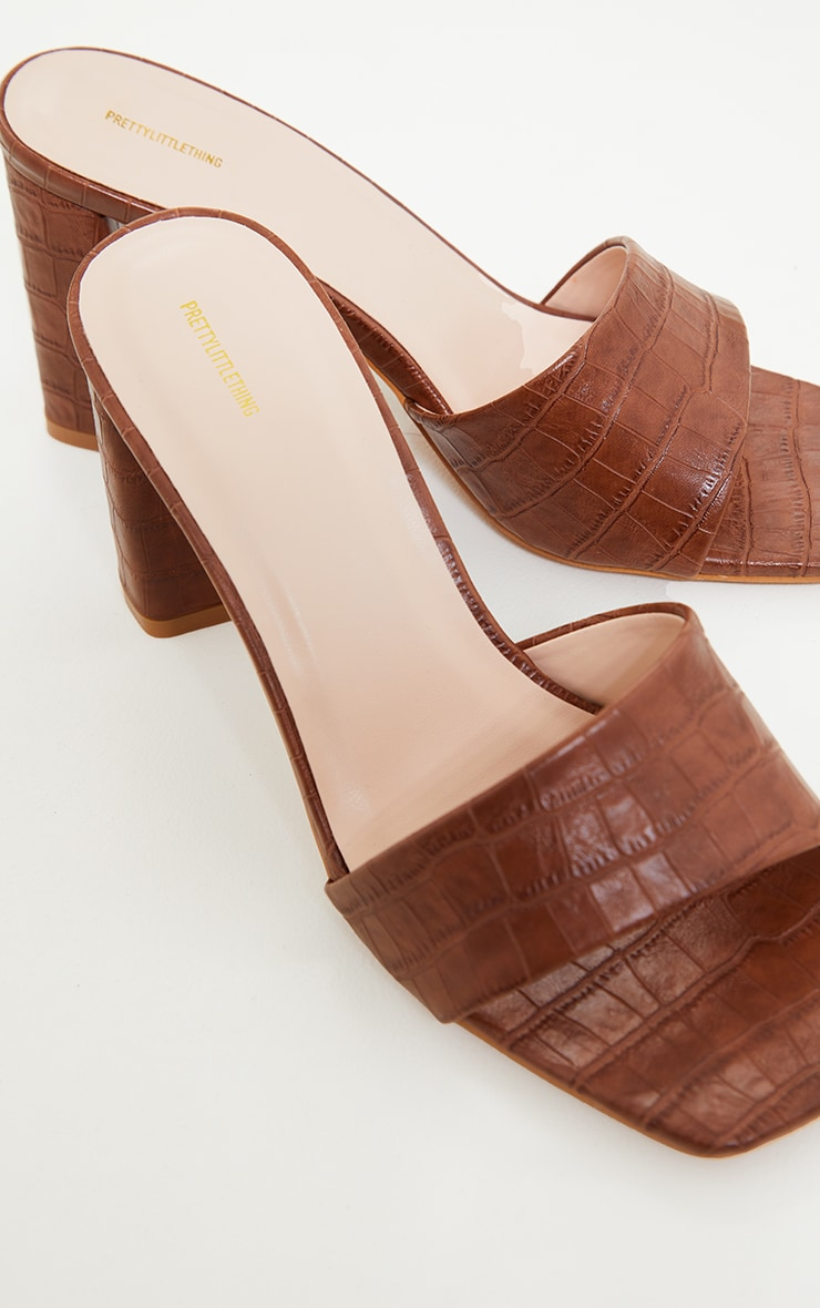 Tan Square Toe High Block Heel Mules 4