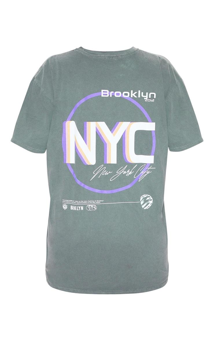 Grey Print Oversized Washed T Shirt 4