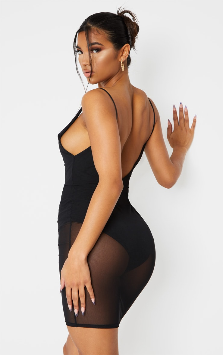 Kyiah Black Mesh Overlay Bodycon Dress 2