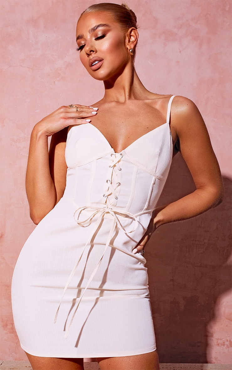 White Lace Up Corset Bodycon Dress 1