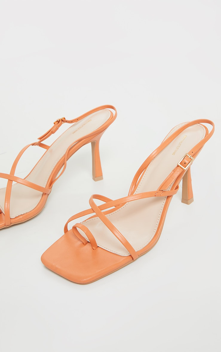 Orange Square Toe Strappy Heeled Sandals 3