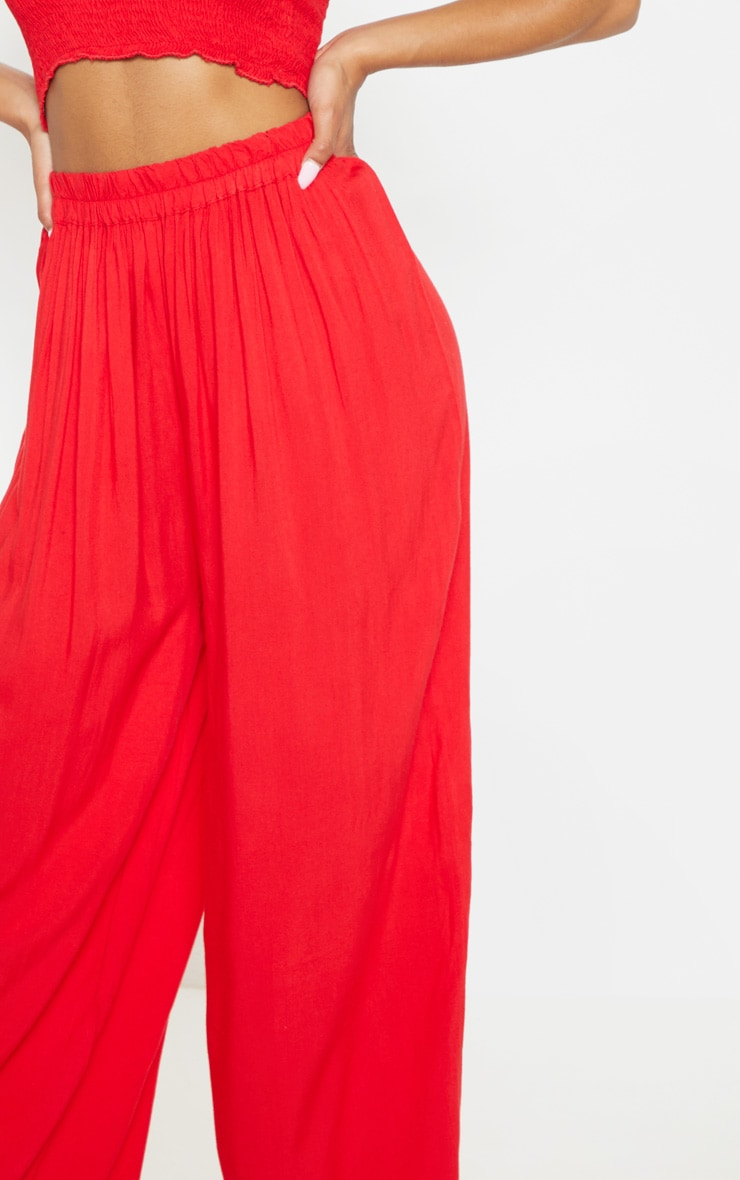 Red Wide Leg Woven Pants 5
