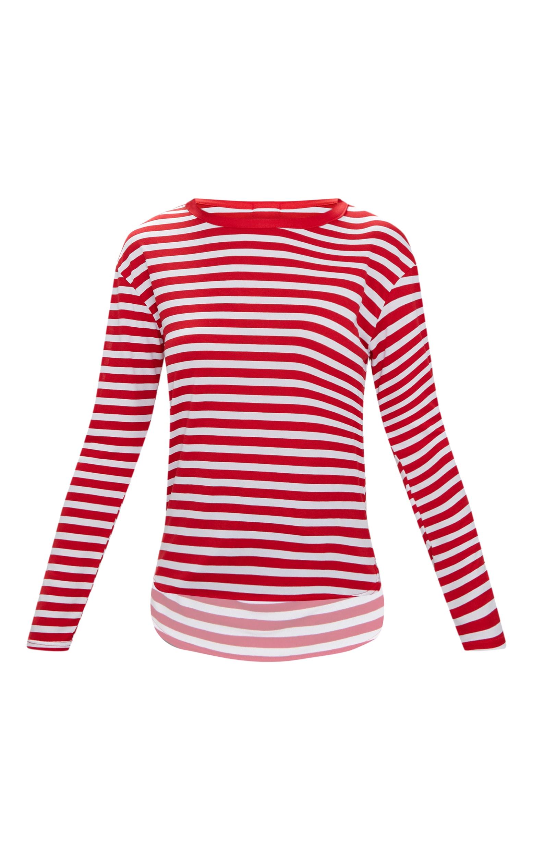 Red Stripe Jersey Long Sleeve Top 3