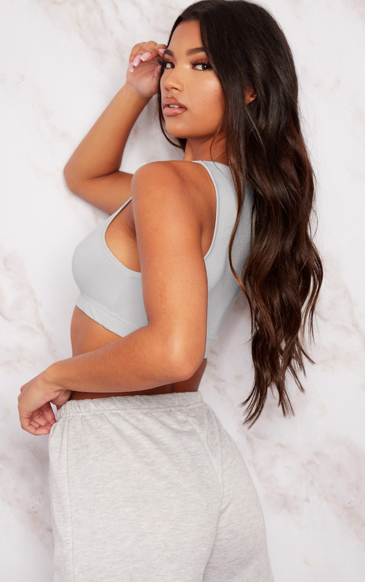 Basic Grey Sleeveless Elastic Hem Crop Top 2