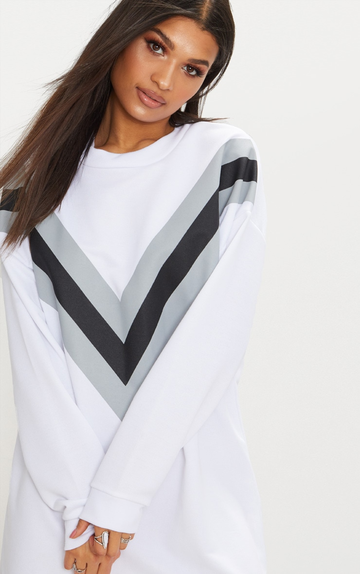 8ab3f4840f7 White Chevron Oversized Jumper Dress image 5