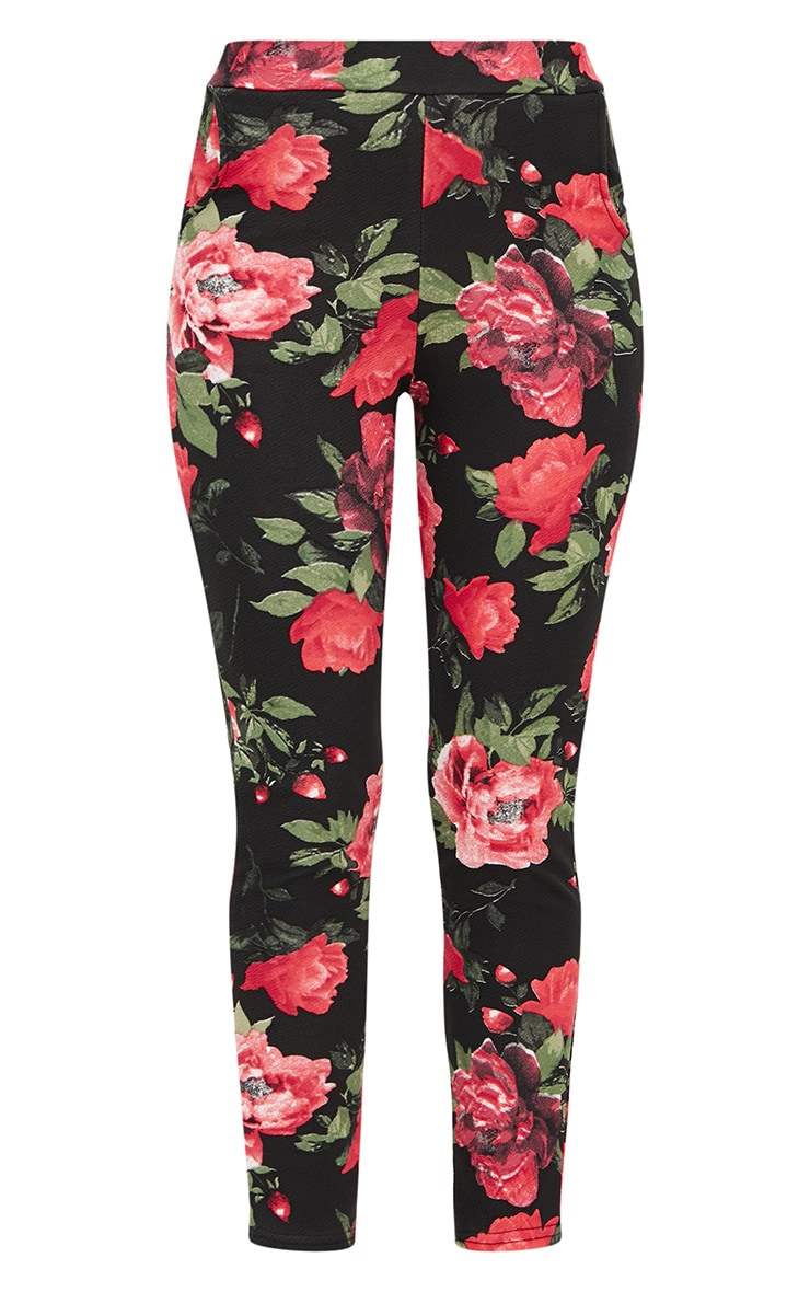Red Floral Skinny Trousers 3