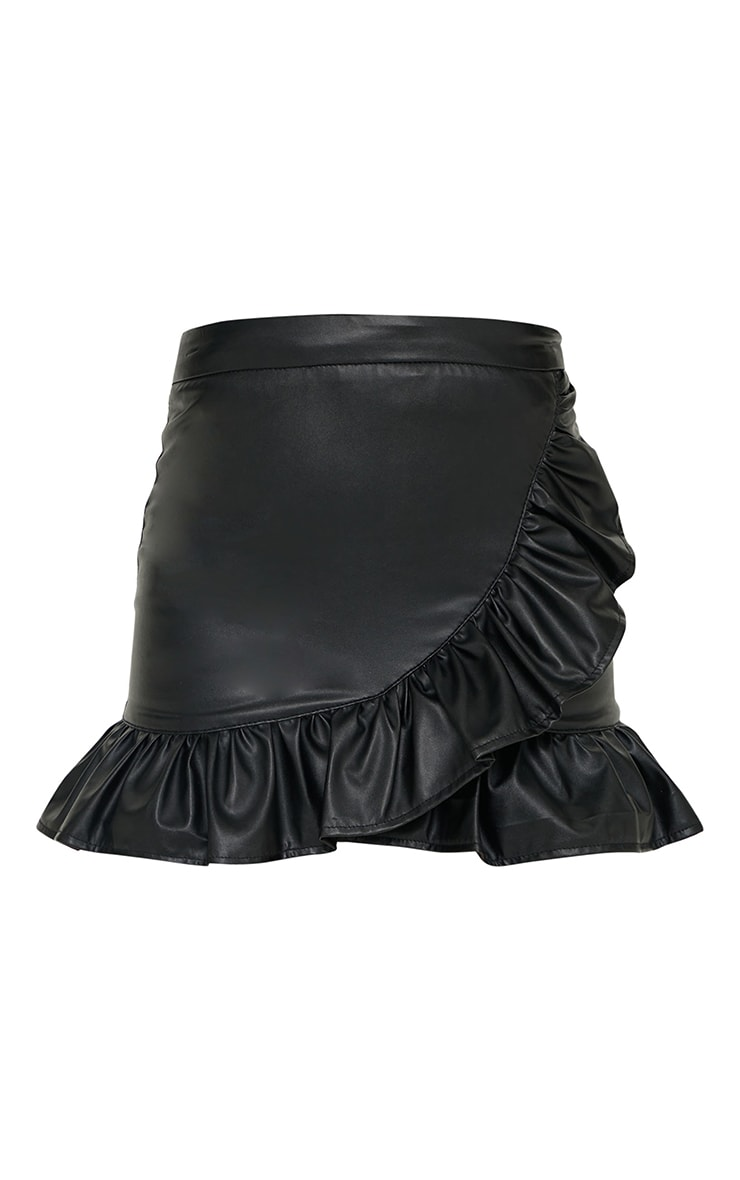 Black Faux Leather Frill Hem Mini Skirt 6