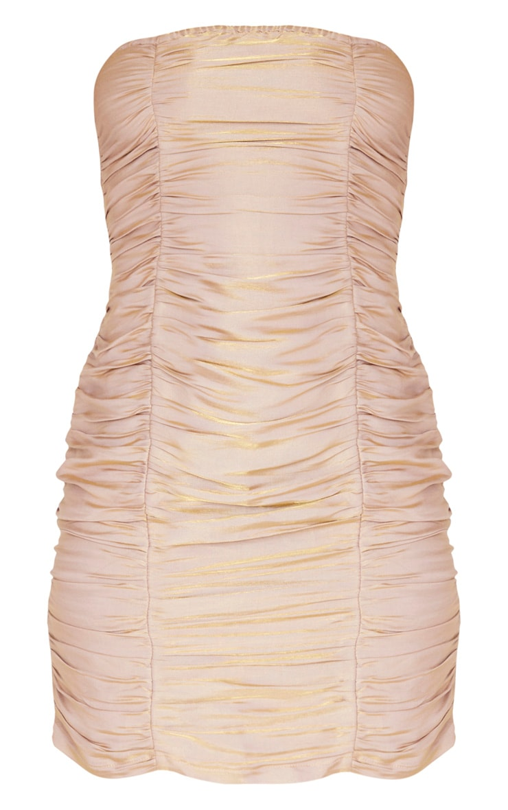 Dusty Pink Iridescent Ruched Bandeau Bodycon Dress 3