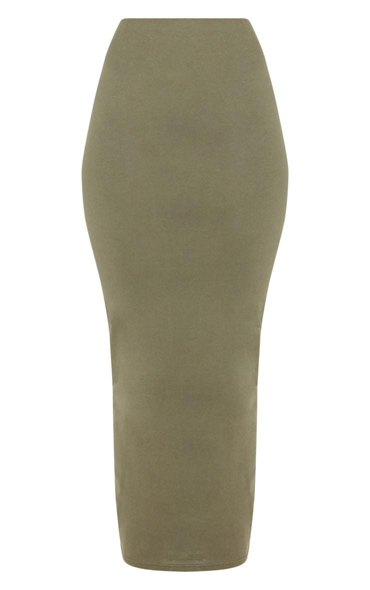 Deep Khaki Jersey Midaxi Skirt  3