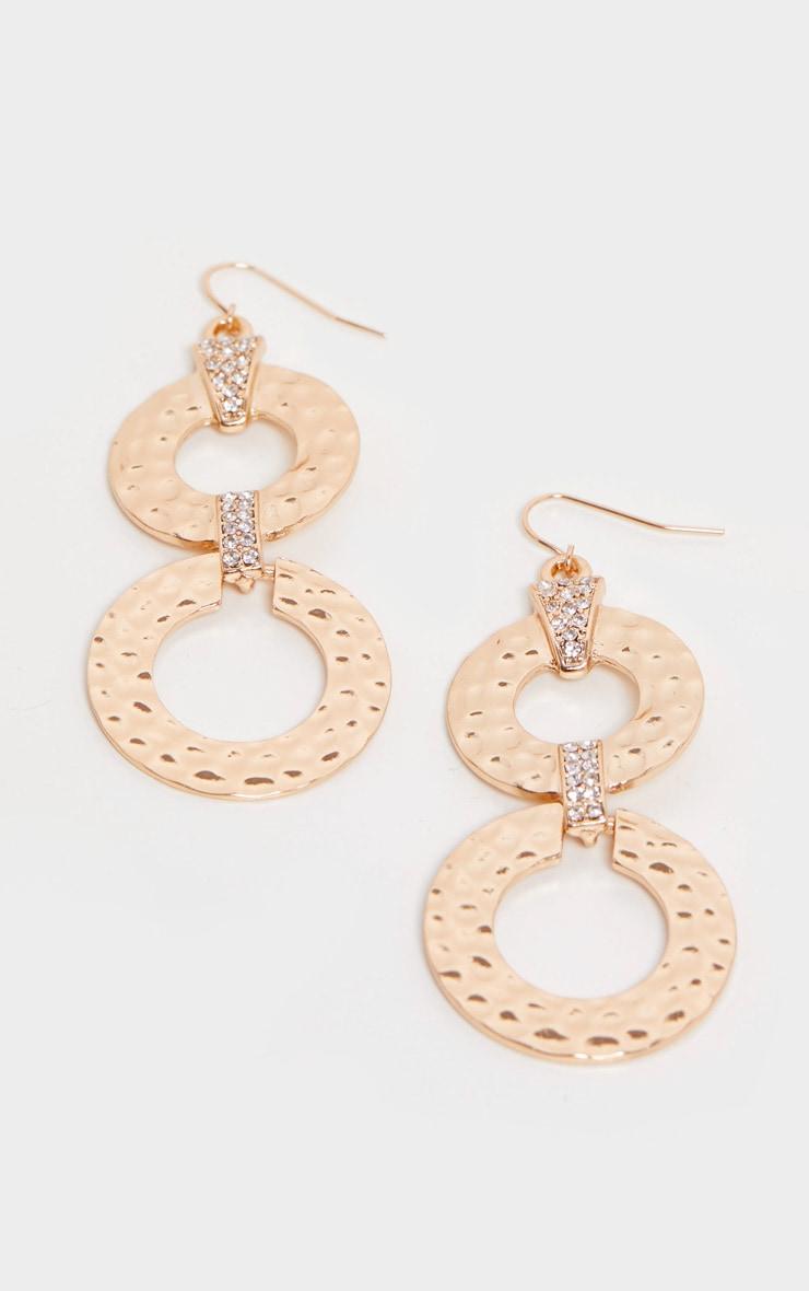 Gold Hammered Double Flat Hoop Drop Earrings 3
