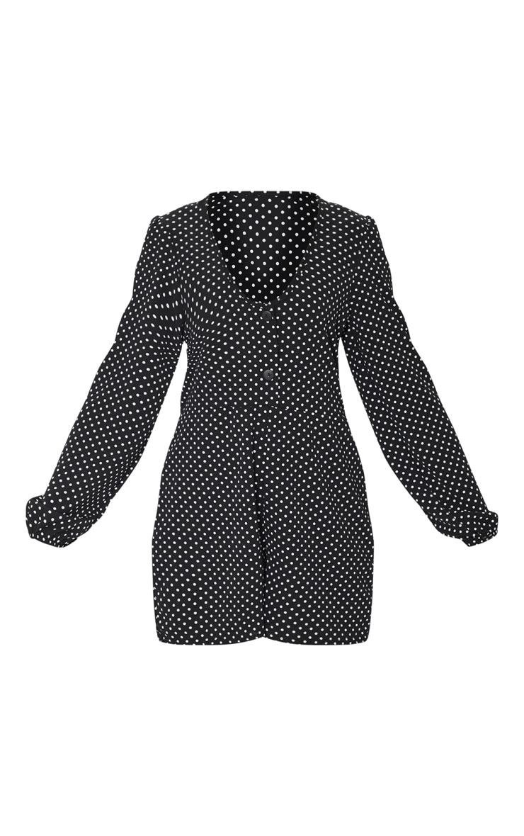 Black Polka Dot Long Sleeve Button Romper 5