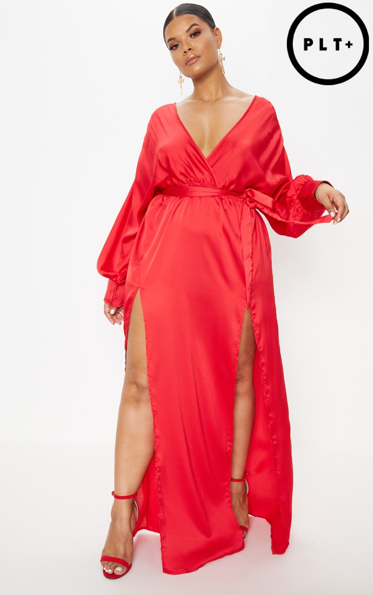 Plus Red Kimono Maxi Dress