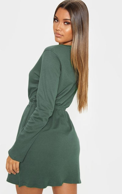 Khaki Elasticated Waist Long Sleeve T Shirt Dress