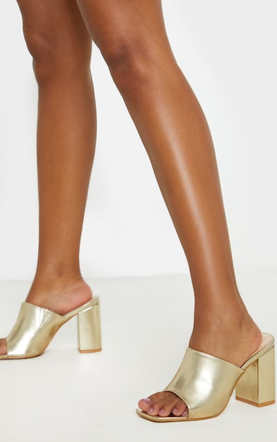 Gold Wide Fit Chunky Block Heel Mule Sandal
