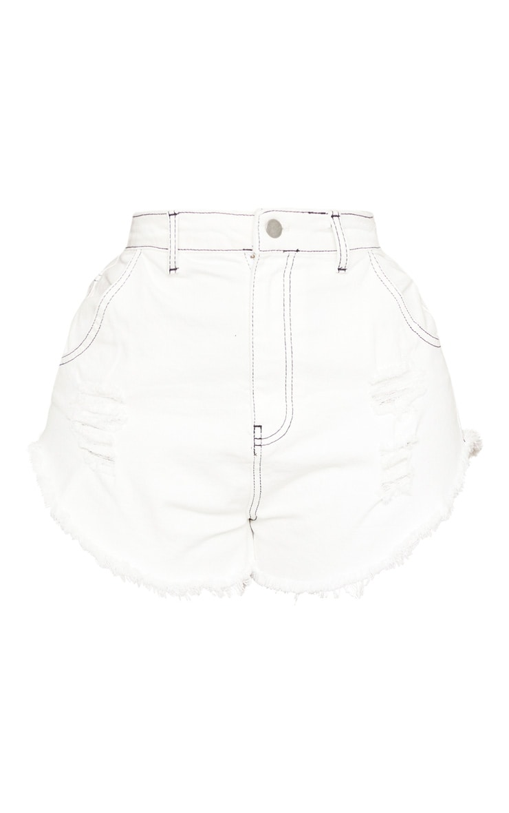 Shape White Distressed Denim Shorts 3