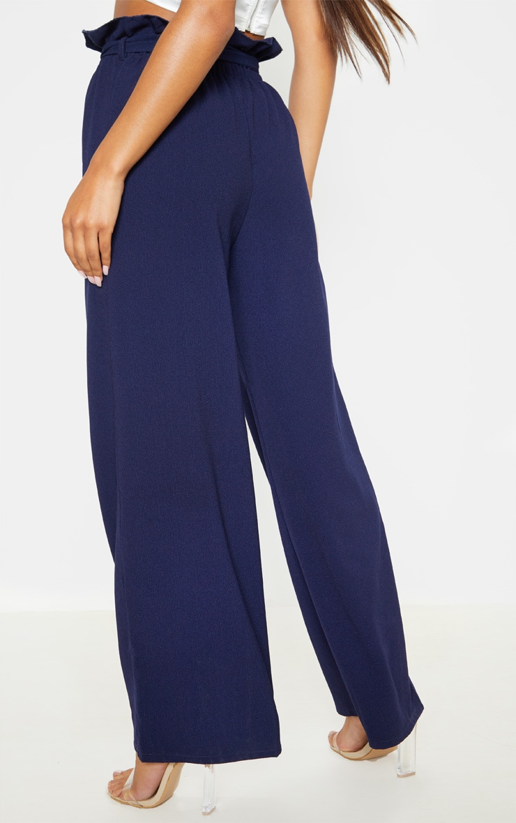 Navy Paperbag Waist Cropped Pants  4