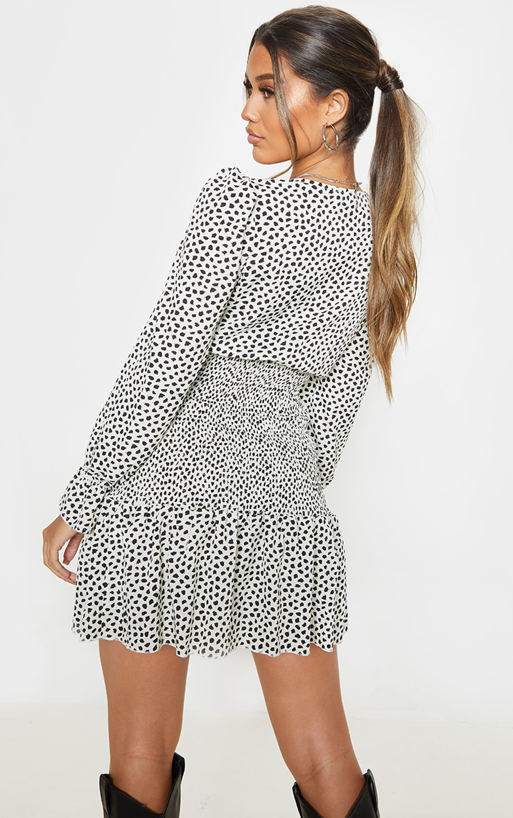 Beige Dalmatian Print Shirred Frill Hem Bodycon Dress 2