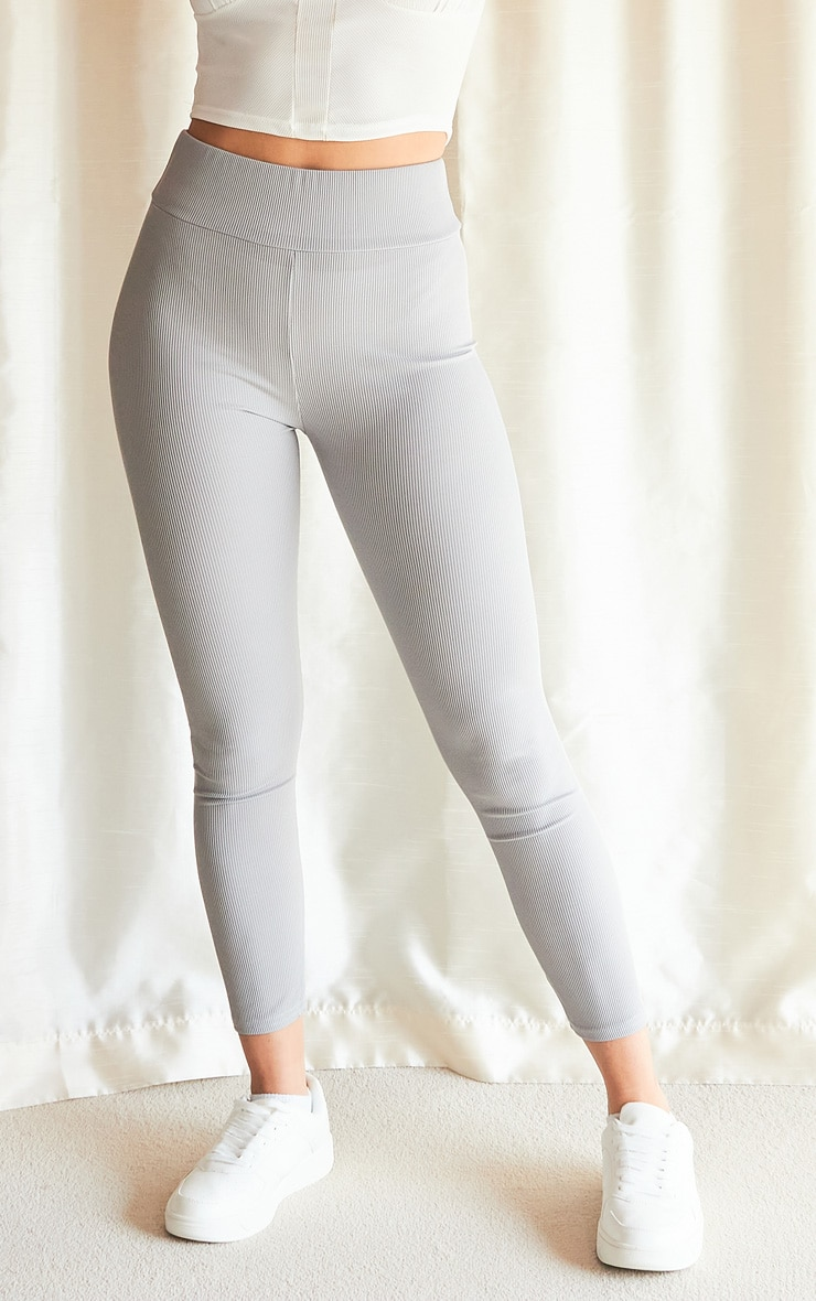 Grey Ribbed High Waisted Leggings 2