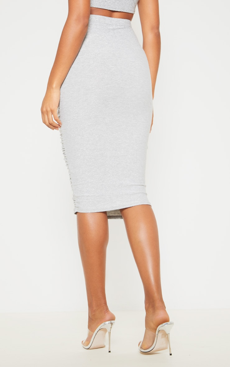 Silver Ruched Front Textured Glitter Midi Skirt 4