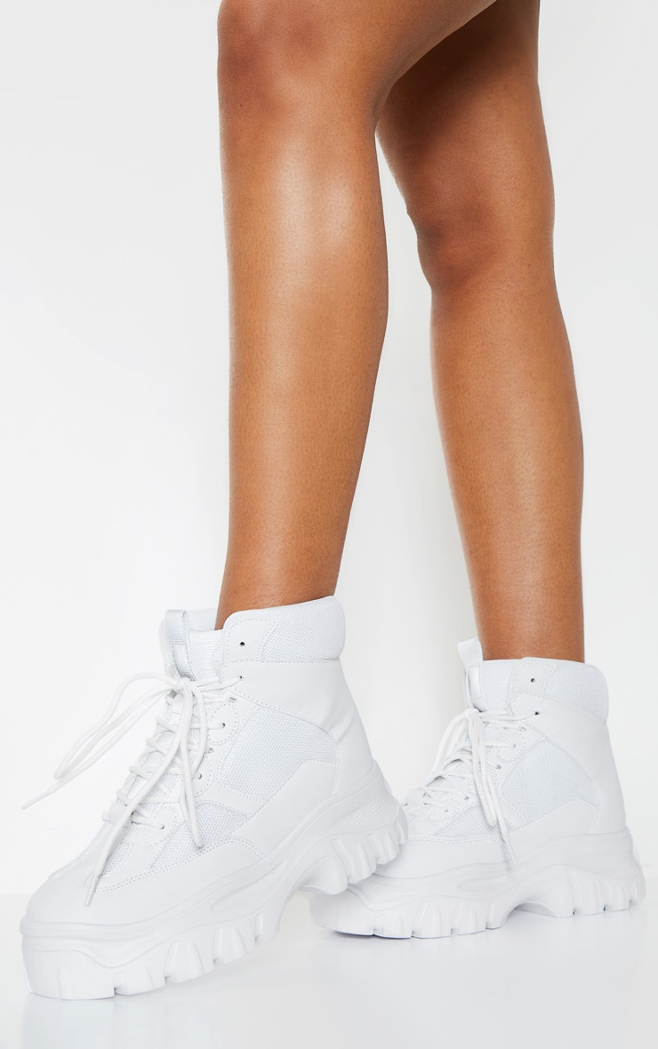 White Flatform Sporty Chunky Sneakers 1